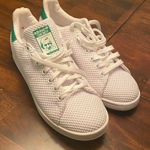 White and green Adidas Stan Smith